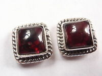 Garnet Square 925 Sterling Silver Stud Earrings with Rope Style Accents