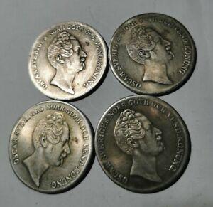 4 x Norway/Sweden coins Oscar Sveriges Norr 1 Riksdaler Specie 1846, 47, 48, 52