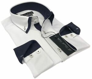 Limited Edition Mens Smart Fit White with Navy Collar Cotton Shirt