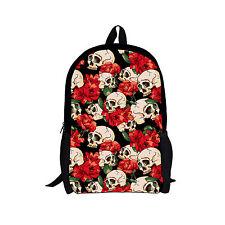 Floral Skull Teenage Girls School Bags Campus College Travel Backpack Rucksack