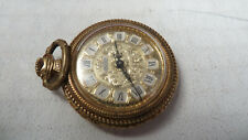 GOLD PLATED ARCADIA OPEN FACED POCKET WATCH:- WORKING 17 JEWELS