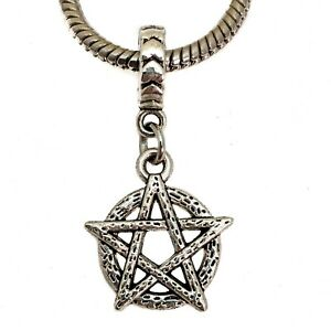 Antique Silver Pentagram Drop Charm Bead European Charm Bracelets Halloween
