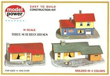 3 Suburban Houses Model RR Layout Kit N Scale 1:160 by Model Power