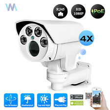 CCTV 1080P IR IP 4X PTZ Bullet Day/Night Outdoor Camera PoE Onvif sd card Slot
