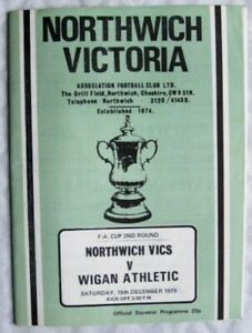 1979 programme Northwich Victoria v. Wigan Athletics FA Cup 2nd Round