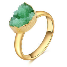 SALE Charm Raw Rock Quartz Stone Finger Adjustable Gold Plated Ring Jewelry