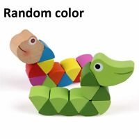 Durable Magical Colorful Crocodile Caterpillars Twist Wooden Children Kids Toys~