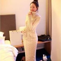 Women Warm Turtleneck Pullover Knit Long Slim Sweater Weave Bodycon Dress Ths01