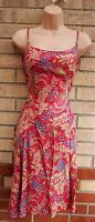 MARKS SPENCER STRAPPY FLORAL DUSTY PINK LILAC SKATER FLIPPY A LINE FULL DRESS L