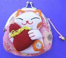 Japanese Maneki Neko Lucky Cat Coin Purse Bag #22408-3 S-2800