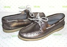 ❤️SPERRY Top-Sider Silver Snakeskin-Print Leather Boat Shoe 9.5 M GREAT! L@@K!12