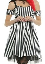 GOTHIC STEAMPUNK STRIPED COLD SHOULDER PARTY DRESS HALLOWEEN BURLESQUE CLOWN MD