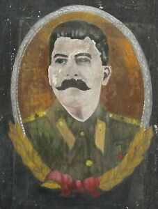 Antique oil painting man portrait Joseph Stalin
