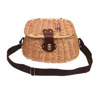 MagiDeal Fish Basket Wicker Vintage Fisherman Traps Cage w/ Adjustable Strap