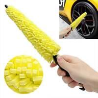 Car Wheel Tire Rim Sponge Brush Washing Vehicle Cleaning Tool w/ Plastic Handle
