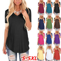Summer Women Short Sleeve T Shirt V-Neck Blouse Ladies Casual Loose Tops S-5XL