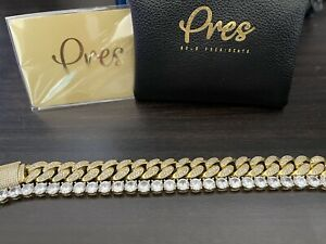 cuban link bracelet 14k Gold/ Diamonds.