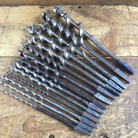 Vintage JENNINGS Pattern x 14 DRILL BITS Old Antique Hand Brace Bit Tool #144