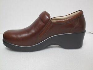 Alegria Eryn ERY-660 Comfort Wedge Shoes Sz 38 (8-8.5) Chestnut Leather NEW $135