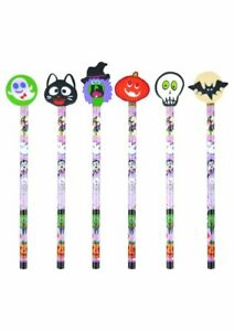 New Halloween Topper Pencils & Erasers Childrens Kids Boys Party Bag Fillers