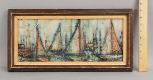 Small Signed ZOE Abstract Expressionist Sailboat Harbor Maritime Oil Painting NR