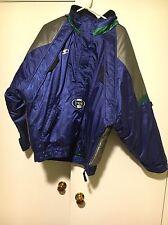 Vintage Seattle Seahawks Starter Pro Line 3/4 Zip Hooded Puffer Jacket Mens Med