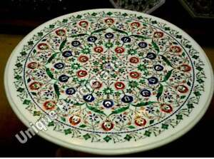 Marble White Conference Dining Table Top Lapis Super Fine Floral Marquetry Arts