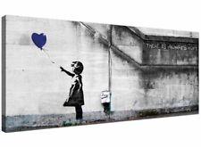 Modern Blue Canvas Wall Art of Banksy Balloon Girl