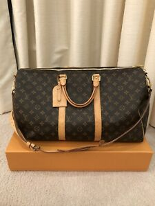 Authentic LOUIS VUITTON Monogram Canvas Keepall 55 Duffle Travel Bag