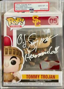 O.J Simpson Signed Tommy Trojan USC Funko Pop #05 PSA AG79504 Gem 10