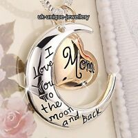 Large Rose Gold Mom Heart & Silver Moon Necklace I Love You - Gift For Her Women