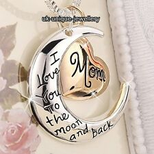 ROSE GOLD Mom Heart & Silver Moon Necklace Xmas Gifts For Her Mum Mother Present