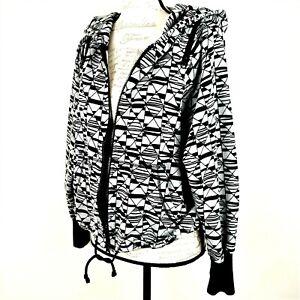 Zumba Women's Size Large Full Zip Hoodie Jacket  Front Pockets Gray Black
