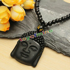 Natural Black Obsidian Hand-Carved Lucky Buddha Amulet Pendant + Beads Necklace