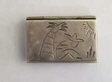 Vintage Mexican Sterling Silver Engraved Pill Box / Snuff Box - .925 RAG Mexico