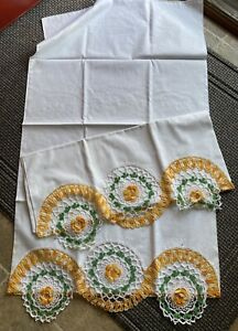 Vintage Crocheted Pillowcase Set of Two UNUSED Floral Yellow Orange Floral