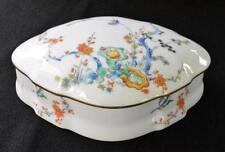 """Vintage CASTEL LIMOGES France CHINESE GARDEN Oval Shape Large 8"""" Trinet Box"""