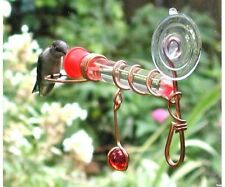 Window Wonder One Tube Hummingbird Feeder with Red Glass Bead & Perch Made USA