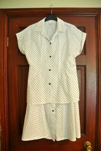 Ladies top and skirt suit , size 14, white with black polka dots
