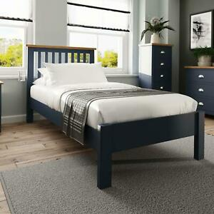 Blue Painted Slatted 3ft Single Wooden Bed Frame Tapered Legs Bedroom Furniture