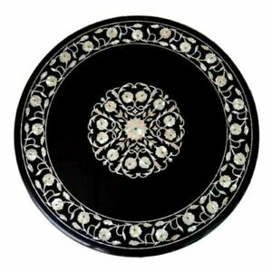 Black Marble Coffee Table Top Mother Of Pearl Floral Inlay Marquetry Art Decors