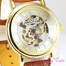 Gold Plt Mechanical Skeleton Steampunk Tan Leather Unisex Windup Watch