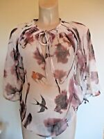 BLACK BUTTERFLY OR WHITE BIRD PRINT MATERNITY & NURSING BLOUSE TOP ALL SIZES