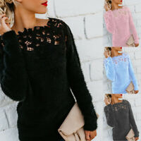 Women Sweater Fluffy Jumper Patchwork Long Sleeve Pullover Casual Blouse Tops