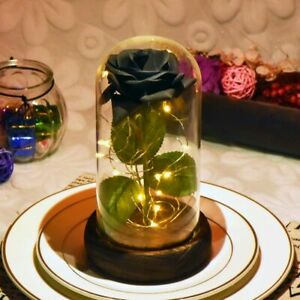 Red White Black Eternal Rose Flower In Glass Dome With Led Light Wooden Base