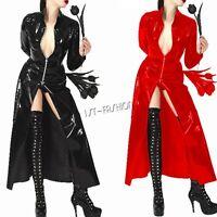 Latex Unisex Sexy Leather Long Sleeve Coat Jacket Fancy Costume Clubwear Party