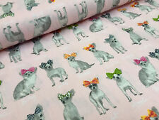 CHIHUAHUA DOG 100% Cotton Poplin Fabric animal dogs Material -150cm wide- PINK
