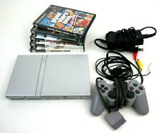 Sony Playstation Ps2 Slim Silver Console Bundle w/5 games & 1 Controller Tested
