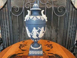 Vintage Wedgwood Portland Blue Jasperware Dancing Hours Bacchus Heads Urn Vase