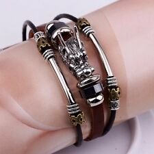 Gothic Dragon Head Mens Brown Black Leather Wristband Cuff Bracelet Bangle Gift